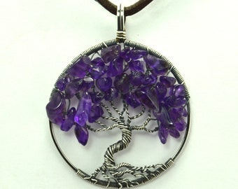 February Birth Stone Amethyst Necklace/Tree of Life/Sterling Silver Pendant/Wire Wrap/Amethyst Tree of Life Purple Pendant/Wire Wrapped