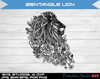 Zentangle Lion mandala files - cuttable Cricut Design Space, Silhouette Digital Cut Files Instant Download svg dxf studio3 zen doodle animal