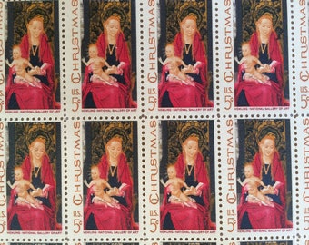 vintage unused madonna and child usps stamps hans memling national gallery of art 5 cent sheet of 50 traditional christmas stamps