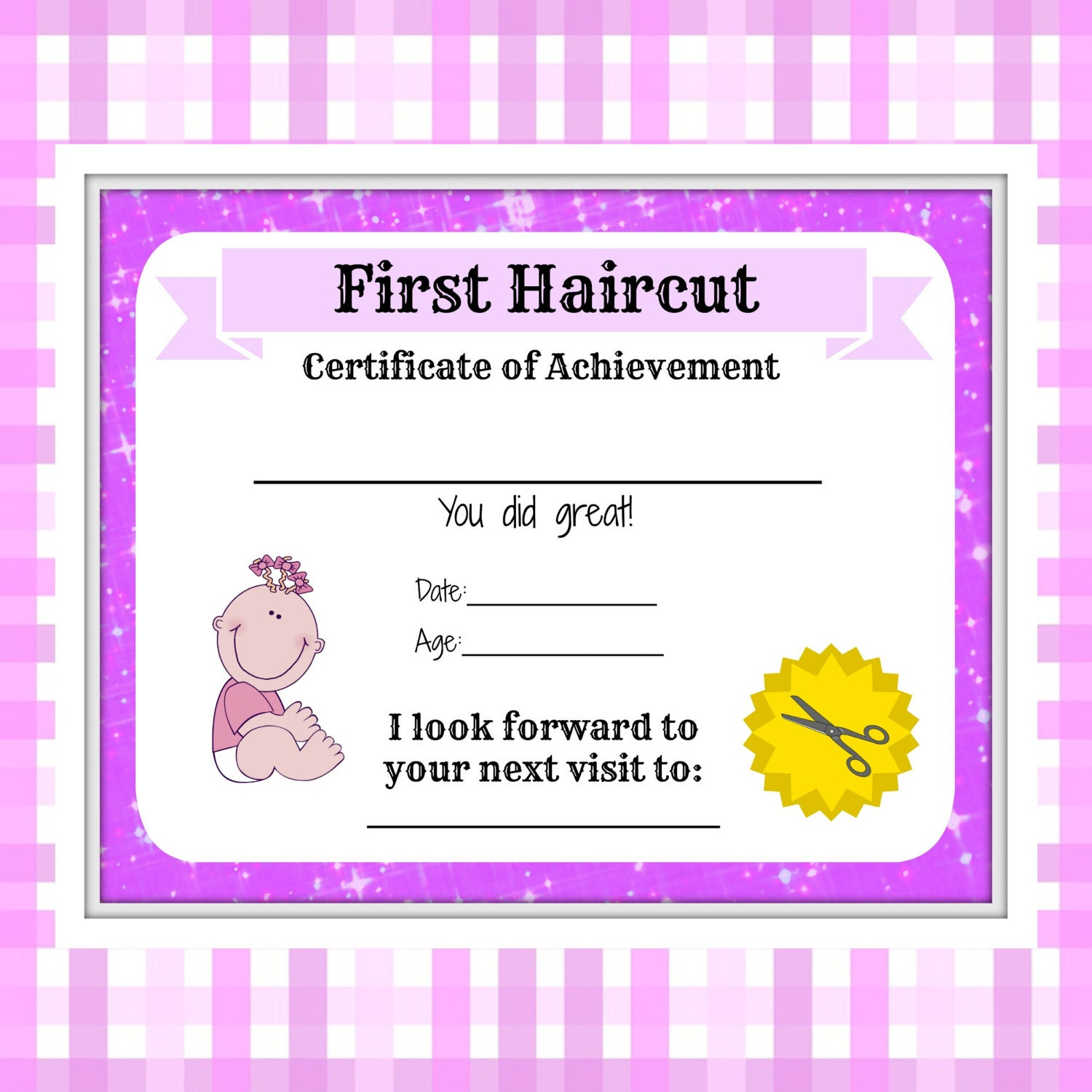 my first haircut certificate template - girls first haircut certificate baby first haircut photo