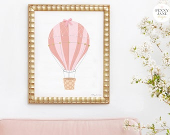 Hot Air Balloon Decorations, Pink Hot Air Balloon, Nursery Wall Art, Art Print Home Decor Office Baby Nursery Printable Wall Artwork Shower