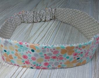 ADULT Reversible HEADBAND Grey Pink Modern FLOWERS Retro Dainty Floral - 100% Cotton Fabric - Hidden Elastic Peach Mint Handmade Ladies Teen