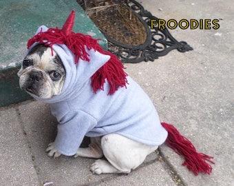 French Bulldog Boston Terrier Pug Dog Froodies Hoodies Halloween Costume Cosplay Gray Red Unicorn Pony Horse Fleece Jacket Sweatshirt Coat