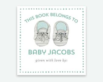 Baby Bookplate Sticker - Baby Shoes Bookplate, Baby Shower Bookplate, Children's Bookplate, Personalized Bookplates, Bring a Book Sticker