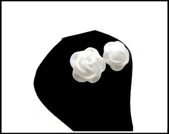 JAPAN White Porcelain Rose Earrings, 3 Dimensional Roses, Japanese Porcelain, White Earrings, Bridal Earrings, Mothers Day Gift For Her