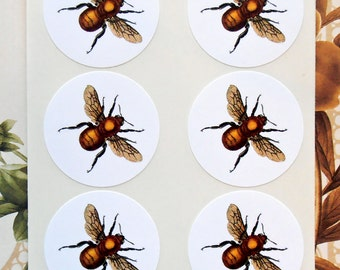 Bee Stickers - Vintage Style Party Favor Treat Bag Stickers SP047