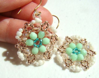 Mint and Gold Beadwork Earrings  Crystal Dangle Beaded Round Earrings  Seed Bead Drop Beadwoven  Summer Casual Everyday ER0045