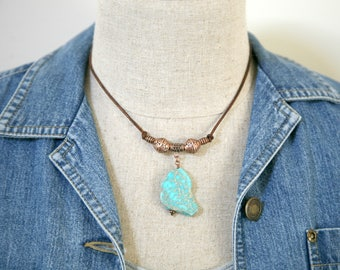 Unisex Copper and Gemstone Leather Cord Adjustable Necklace, Men's Necklace, Masculine Jewelry, Leather Cord Necklace, Turquoise Colored