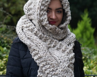 Hooded Scarf, Oatmeal Scarf, Chunky Scarf, Cream Hooded Scarf, Chunky, Extra Long, Wrap Around, Cable scarf, Gift for Her, Christmas Gift.