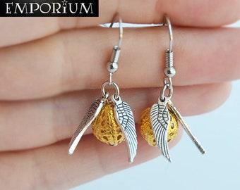 Golden Snitch Earrings - Gold Ball & Silver Wings Hooks - Potterhead Jewelry