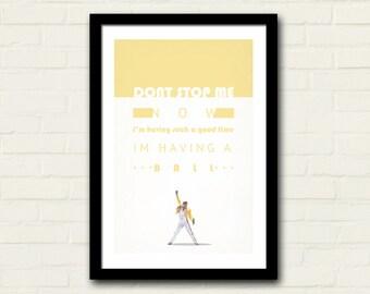 Queen Don't Stop Me Now Lyrics 11 X 17 Art Print, Lyrics Poster