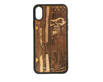 Biker Skull iPhone X Case Cover by iMakeTheCase Bamboo Cover + TPU Wrapped Edges USA American Flag Motorcycle Chopper Hog Skeleton Gang