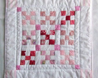 Coaster Mug Rug or Mini Nine Patch Quilt in Pink and White