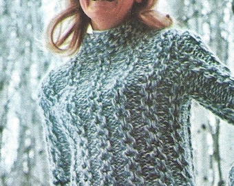 Vintage Bulky Knit Sweater PDF Pattern