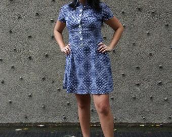Vintage Polka Dot Blue Dress in Small 1980s