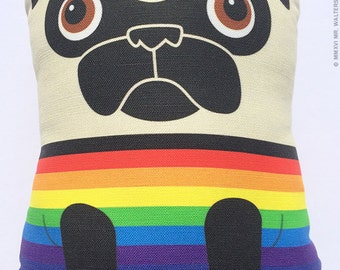 Rainbow Sweater Tricky- Large Fawn Pug Plush