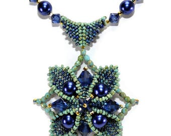 Swarovski crystals and pearls nestled in a peyote seed bead base creating a 3-dimensional star - Constellation Pendant - PDF Beading Pattern