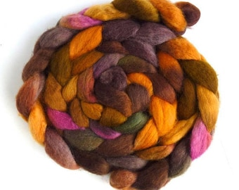 BFL Wool Roving - Hand Painted Spinning Fiber, Weathered