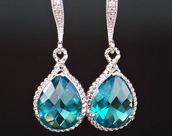 Teal Crystal Teardrops in Silver on French Earrings with a Matching Silver-Filled Necklace, Earring and Necklace Jewelry Set