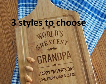 FREE DELIVERY - Personalised Engraved Bamboo Paddle Serving Board - Father's Day Gift - Gift for Father & Grandfather -Birthday gift for Dad