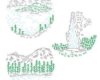 National Parks PDF Embroidery Pattern Pack 2