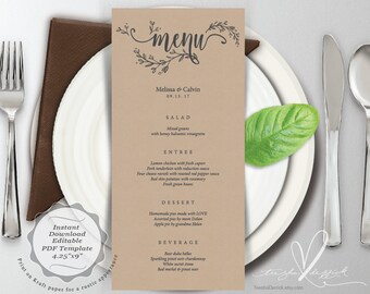 Wedding Menu card, PDF editable template, Instant Download Printable Card in rustic botanical floral design theme (TED418_13)