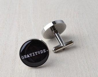 Gratitude Jewelry Cufflnks / Mens cuff link zen accessories / Silver minimalist jewelry