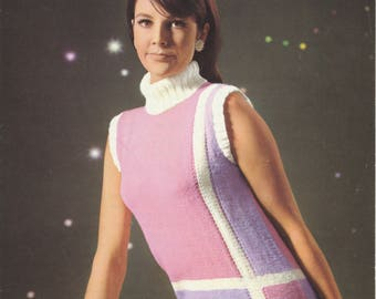 1960's Knitting Pattern | Original Vintage Pattern | Roll Neck Sleeveless Sweater | 34 36 38 | Patons 9622
