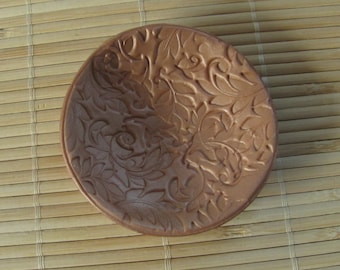Gold Polymer Clay Trinket Dish - Round Jewelry Holder - Leaf Design - Mother's Day Gift
