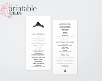 The Kendall Watercolour Mountain Wedding Ceremony Program (Printable)