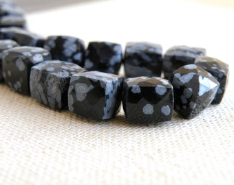 Obsidian Gemstone Briolette Black Faceted Cube 9mm 1/2 strand 13 beads