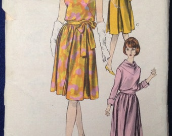 Vintage womens dress sewing pattern Vogue 6174 Sz16 1950s 1960s mid century