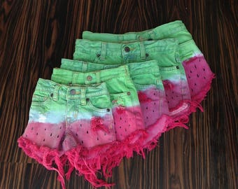 Kids high waisted shorts, Watermelon Ombre Dyed, Coachella hippy Boho Denim Cut-offs, distressed, Shredded, hand painted puff paint seeds