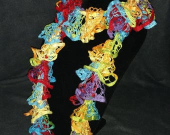 Handmade knitted rainbow scarf - bright and colorful