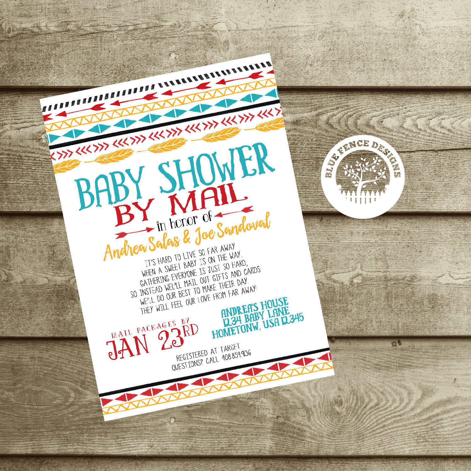 Across the Miles Baby Shower Invitation any colors Baby
