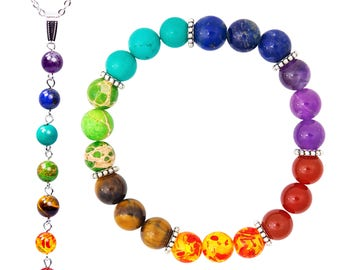 7 Chakra Bracelet + Necklace Set