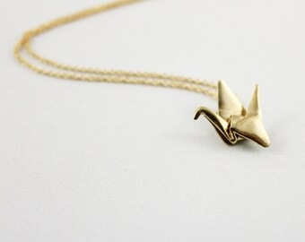 Paper Crane Necklace,Origami Crane Necklace,Paper Crane Jewellery,Paper Crane Pendant,First Anniversary Gift,Gold Origami Crane Necklace