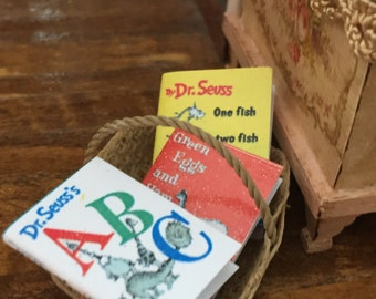 Miniature Children's Books, Dr Seuss, Set of 3, One Fish, ABC and Green Eggs and Ham, Dollhouse Miniatures, 1:12 Scale