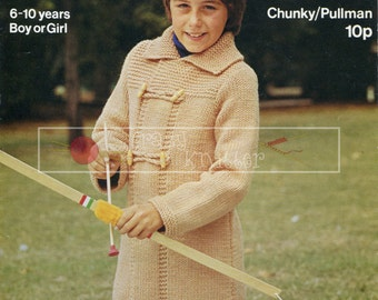 Children's Duffle Coat 6-10 years Chunky Sirdar 4206 Vintage Knitting Pattern PDF instant download