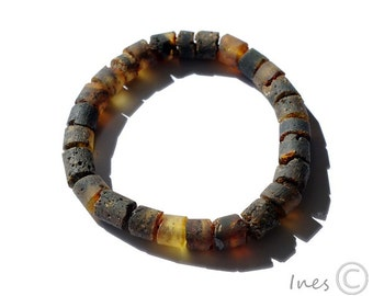 Unisex Baltic Amber Adult Bracelet, Raw Unpolished Black Amber Beads