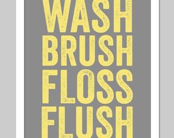 "Yellow and Grey Bathroom Subway Art for Bath Wash Flush Brush Bathroom Rules - Subway Art Bathroom Print - 11""x14"" Art Poster Print"