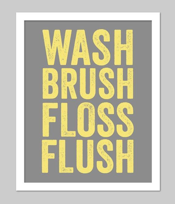 Yellow and Grey Bathroom Subway Art for Bath Wash Flush Brush