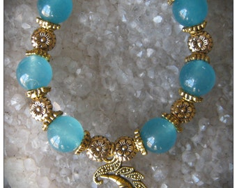 Handmade Gold Bracelet with Blue Topaz, Flowers & Moon by IreneDesign2011