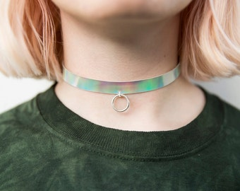 O-ring holographic choker, iridescent grunge necklace
