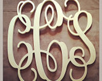 "24"" INCH Large 3 Wooden Vine Connected Monogram Letter, Unfinished,Unpainted, wedding decor monogram"