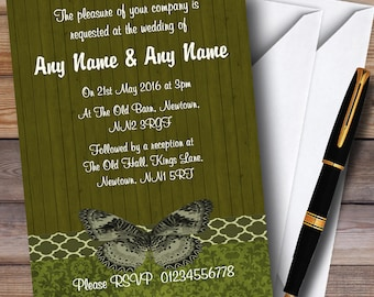 Rustic Vintage Wood Butterfly Olive Green Personalised Wedding Invitations