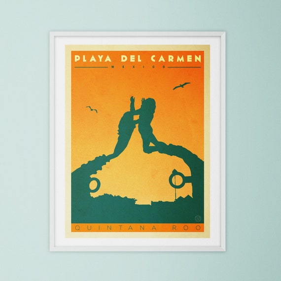 Playa Del Carmen Mexico. Retro style Wall Art Landmark Mid