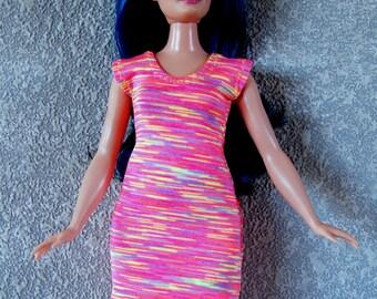 Dress fits Curvy Barbie fashionista fashion doll clothes coral-yellow-purple stripe print A4B195