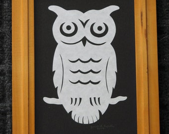 Owl  - Scherenschnitte - Hand Paper Cutting Art signed and dated By Janet Lynch - Framed