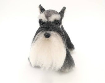"4.5"" Schnauzer. Custom Needle felted realistic dog.Miniature Art Sculpture. One of a kind. Wool animal sculpture. Poseable"